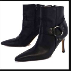 """Manolo Blahnik Moto Ankle Boots Black calfskin Manolo Moto Anke boots.Featuring silver toned harness ring to complete that Moto look. Hidden zipper bottom to to top to allow easy slip on comfort. Slightly pointed toe. Both inner and outer are the finest Italian Calfskin leather. These are in fabulous condition heel tap may need replacement at some point 8.5/10 10 being new . Heel 4.5 """".Made in Italy. Serious offers and Buyers please. Use offer button  Manolo Blahnik Shoes Ankle Boots…"""