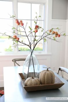 Nice 88 Totally Adorable Fall Country Decoration Ideas for Your Home. Fall Table Centerpieces, Decoration Table, House Decorations, Wedding Centerpieces, Dining Room Centerpiece, Quinceanera Centerpieces, Centerpiece Ideas, Autumn Decorating, Family Room Decorating