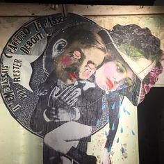 """""""J'embrassais parfois le passé pour rester debout"""" by @madamemoustachestreetart #madamemoustache #streetart #graffiti #graffitiwall #wall #wallporn #wallpornart #streetphoto #urbanwalls #graffart #collage #instagraff  Bd Bessieres #paris"""