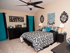 bedroom tiffany blue black silver and white more guest room bedroom