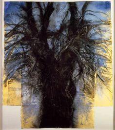 "Jim Dine, Tree (The Kimono), 1980 charcoal, pastel, and acrylic on yellow handmade paper ""Drawings of Jim Dine"" National Gallery of Art Jim Dine, Landscape Art, Landscape Paintings, James Rosenquist, Pop Art, National Gallery Of Art, Claes Oldenburg, You Draw, Jasper Johns"