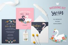 Wedding set with Swan lake theme  by Marish on @creativemarket