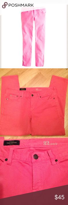 "J. Crew Salmon Pink Toothpick Ankle Jeans-32 Ankle Sits at hip. Midrise. Fitted through hip and thigh, with a superskinny, ankle-length leg. These are very skinny fit with 2% elastine for stretch. Pink garment dyed, wash before wearing.  Front rise: 8 3/4"". 28"" inseam. Last photo shown in black to show fit. J. Crew Jeans Skinny"