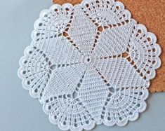 Round crochet doily, Easter table decoration, white lace doily, center piece by Fancyloops Ready to Crochet Rug in Ecru Off White Cotton Spiral Pattern Non Crochet Doily Patterns, Crochet Squares, Crochet Doilies, Hand Crochet, Crochet Stitches, Easter Crochet, Mode Crochet, Crochet World, Crochet Placemats