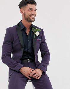 prom tuxedo ASOS DESIGN super skinny tuxedo prom suit jacket in purple Purple Tuxedo, Prom Tuxedo, Purple Suits, Tuxedo Suit, Tuxedo Wedding, Tuxedo For Men, Wedding Suits, Purple Prom Suits For Guys, Purple Prom Tux