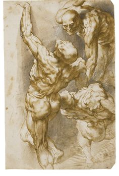 Peter Paul Rubens, ANATOMICAL STUDIES OF THREE MALE FIGURES, Pen and brown ink and wash and black chalk, 291 x 191 mm