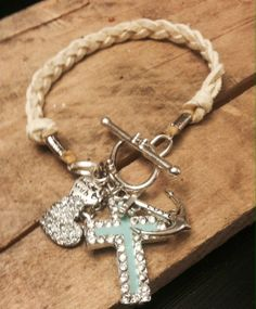 Heart Anchor and Cross Bracelet by EspwaDesign on Etsy, $25.00