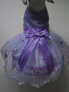 Purple Embroidered Organza Dog Dress by FantasyPupFashions on Etsy, $40.00