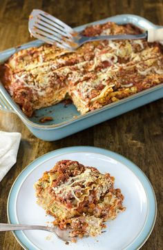 Simple plant-based ingredients create a satisfying cheese flavor and meaty texture in this gluten-free vegan cheesy lentil lasagna recipe.