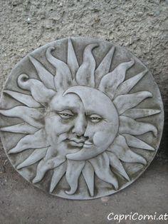Sonnenscheibe Antiksteinguss (winterfest) Landscape, Stone, Outdoor Decor, Home Decor, Sun Moon, Stone Sculpture, Ponds, Winter Festival, Sculptures