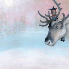 reindeer and mouse by Catherine Zarip Illustrator, Art And Illustration, Illustration Children, Winter Scenes, Beautiful Soul, Childrens Books, Book Art, Deer, Beautiful Pictures