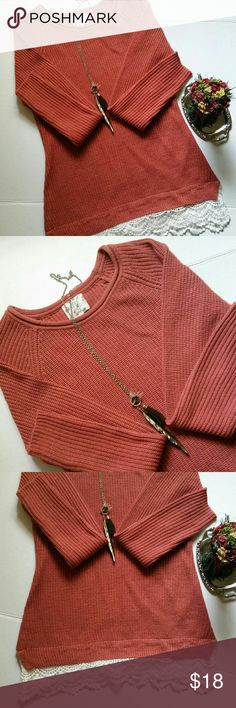Hippie rose lace trimmed sweater Hippie rose lace trimmed sweater size small  in a beautiful blushed rose almost beautiful burnt umber color with white lace bottom in in great condition super add to your closet with fall weather on its way offers always welcome Hippie Rose Sweaters