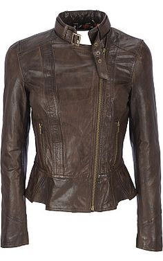 Black Rivet Distressed Leather Peplum Scuba Jacket - Wilsons Leather. I want!