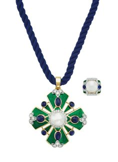 Magnificent Jewels | Christie's Enamel Jewelry, Pearl Jewelry, Jewelry Sets, Vintage Jewelry, Fine Jewelry, Jewellery, Pearl Pendant Necklace, Stone Necklace, Peridot And Amethyst