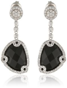 Sterling Silver Black Onyx and Created White Sapphire Dangle Earrings -