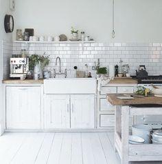 white subway tile kitchen gray grout - Google Search