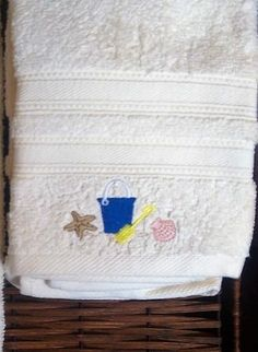 Set of 2 Cream Embroidered Hand Towels Starfish Beach Bucket Bath Home Decor #Unbranded