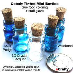eCrafty.com's Quick Ideas for Beading, Crafts, & Jewelry Making Fun: DIY Cobalt Blue Glass Glaze Recipes for Mini Bottles, Crafting and Mason Jars