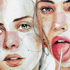 Dreamy, playful, blurred – the watercolors by Ana Santos From childhood on … - Art Creation Illustration Art Drawing, Illustration Mode, Art Drawings, Watercolor Portraits, Watercolor Paintings, Watercolour, Desenho Tattoo, Portrait Art, Girl Portraits