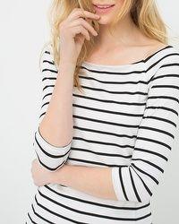 3/4 Sleeve Stripe Top