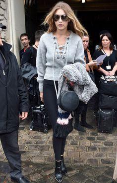 Model-Off-duty: GiGi Hadid in grey sweater. #winter #fashion