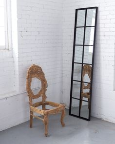 Hand Carved Chair + 9 Pane Mirror.
