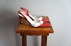 Vintage Salvatore Ferragamo Red and White Shoes | Slingback Heels | size 9 AA by SunnywoodVintage, $62.00