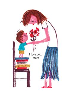 (by Joanne Liu) Family Illustration, People Illustration, Illustration Art, Mother Art, Mother And Child, Mother's Day Gift Card, Happy Party, Art For Kids, Art Drawings