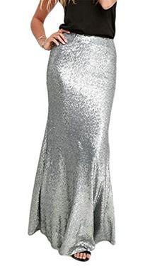 b3f009fb2f Vska Womens Stylish Sequins High Waist Bodycon Mermaid Fishtail Maxi Skirts  Silvery M *** ** AMAZON BEST BUY ** #SummerOutfit