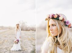 beautiful bride and flower head piece