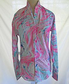 Tuxedo Shirt Rat Pack Marble Print Vintage NOS Pleated Wing Pink Multicolor XS #aftersix