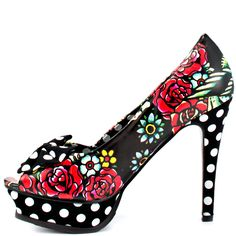 Iron Fist's Multi-Color Hooters Peep T Platform - Black for 49.99 direct from heels.com