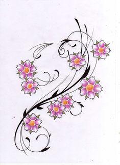 Flower Tattoo Flash   flower tattoo design