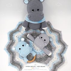 Today we are pleased to share a new project accompanied by. Don Ovillo - Don Trapillo! Many will already know our adorable hippo Melman, we shared his pattern Crochet Hippo, Crochet Lovey, Crochet Doll Pattern, Crochet Dolls, Crochet Patterns, Baby Patterns, Pattern Baby, Kit Bebe, Baby Hippo