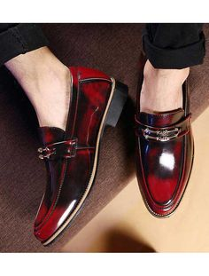 Men's #red leather slip on #DressShoes with metal buckle decoration, sewing thread, retro tone.