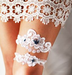 Extremely romantic & stunning Wedding Garter - Bridal Garter - Lace Garter Navy Blue Garter - Vintage Inspired Garter - Rustic Garter Boho Garter Set Toss Garter