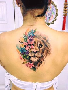 40 Cool And Amazing Back Tattoo Designs You Want To Show Off In Summer - Page 2 of And Amazing Back Tattoo Designs You Want To Show Off In Summer; Back Tattoos; Tattoos On The Back; Back tattoos of a woman; Body Art Tattoos, New Tattoos, Girl Tattoos, Sleeve Tattoos, Leo Lion Tattoos, Tatoos, Lion Back Tattoo, Lion Woman Tattoo, Female Lion Tattoo