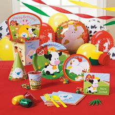 Barnyard 1st Birthday Deluxe Party Pack for 16    Includes 16 invitations, dinner plates, dessert plates, cups, forks, spoons, napkins (2 per guest), solid-color tablecover, centerpiece, foil balloon, 18 balloons (3 colors), curling ribbon (3 colors), crepe paper rolls (3 colors), cone hats, cake candles and a #1 candle. $64