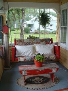 The front porch of a home is a good place to waste time with family and friends. You need to decorate your front porch so looks beautiful and cozy. Decorating your front porch is similar thing to decorating any room… Continue Reading → Front Porch Furniture, Garden Furniture, Furniture Ideas, Furniture Dolly, Luxury Furniture, Muebles Shabby Chic, Outdoor Rooms, Outdoor Decor, Cottage Porch