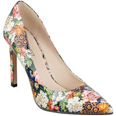 Nine West Tatiana Floral Faux Patent Leather Pumps (1.920 CZK) ❤ liked on Polyvore featuring shoes, pumps, dark pink, floral print pumps, multi colored shoes, pointy toe shoes, floral shoes and multicolor shoes