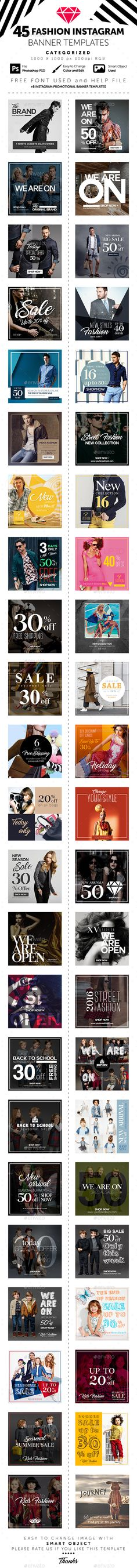 45 Fashion Instagram Banner Templates  • Only available here ➝ http://graphicriver.net/item/45-fashion-instagram-banner-templates/16334322?ref=pxcr