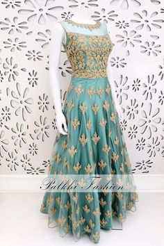PalkhiFashion Exclusive Teal Color Elegant Hand Work Gown