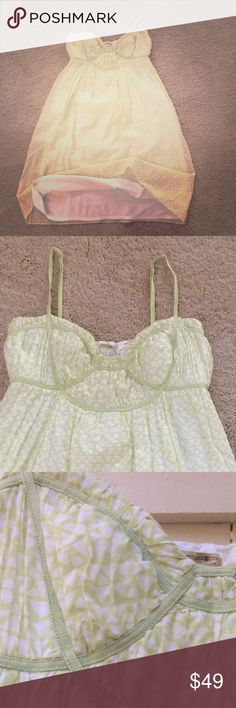 """Bundle 2+ 🚨15% off Beautifully made Max Studio pale green/yellow/cream spaghetti string baby doll empire dress. Perfect for Spring brunch or Summer concerts. Fiber content: 70% cotton 30% silk! In excellent pre-owned condition-like new💖Measurement: 29"""" not including spaghetti strap/ across chest has elastic stretch; measures 13 inches"""". Lined with white soft cotton. 💕Bundle to save extra on shipping💕 Max Studio Other"""