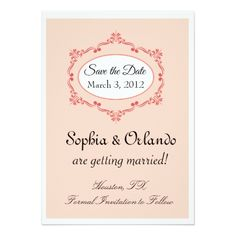 Shabby Chic Save the Date Cards Simple Elegance Save the Date Cards