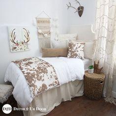 Tan Cowhide Designer Dorm Bedding Set