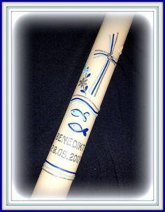 Taufkerze Kommunionkerze Konfirmationskerze 4 x 40 cm blau