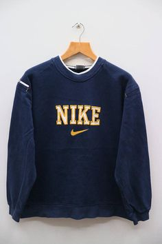 a9b075c54f39 Vintage NIKE Big Logo Sportswear Blue Sweater Sweatshirt Size M