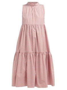 New Asceno Neck-tie tiered striped cotton dress. Womens Clothing from top store Frock Fashion, Fashion Dresses, Kimono Design, Casual Dresses, Summer Dresses, Poplin Dress, Kurta Designs, Classy Outfits, Cotton Dresses