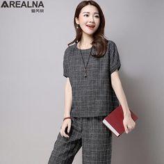 741e52e4119214 [EBay] Summer Fashion Plaid Tops Pants 2 Piece Set Women Casual Loose Two  Piece