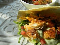 Baja fish tacos with avocado cream (try with cod or haddock instead of tilapia)